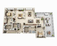 Luxury Floor Plans, Home Design Floor Plans, Home Building Design, Pool House Designs, Sims House Design, Small House Design, Studio Apartment Floor Plans, Apartment Plans, High Rise Apartments