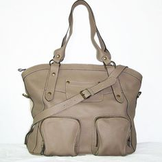 Light-taupe leather tote bag leather handbag by ChicLeather
