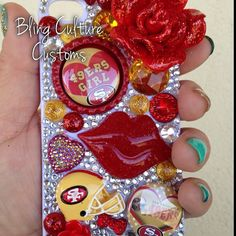 NFL SF 49ers Girl Bling Phone Case for iPhone 4 4s 5 5C by BlingCC, $19.99 https://www.etsy.com/listing/188865369/nfl-sf-49ers-girl-bling-phone-case-for?ref=related-3