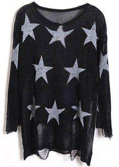 Jersey estampado estrellas-Negro EUR€22.92