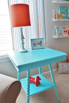 Project Nursery - Gray Striped Orange and Aqua Nursery Spray Painted Table