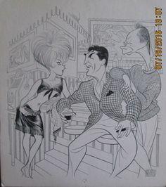 "Al Hirschfeld ~ Kim Novak, Dean Martin, and Ray Walston in ""Kiss Me, Stupid"""