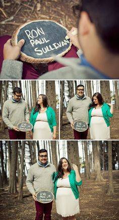 Fun, sweet maternity session - his surprise name choice on the sign and her reaction are too funny!