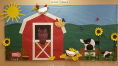 "Farm themed ""WELCOME"" preschool bulletin board, paper plate animals and flowers Aug 2016 Farm Bulletin Board, Birthday Bulletin Boards, Preschool Bulletin Boards, Birthday Board, Birthday Wishes, Toddler Crafts, Preschool Crafts, Crafts For Kids, Apple Classroom"