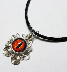 Wire Wrap Evil Glass Eye of Sauron Simular Lord of the Rings Pendant with Necklace $25.00