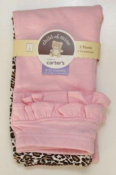 Carter's Child of Mine 2 Pack Pants ~ Solid Pink & Brown & Beige Leopard Print ~ #Carters #Pants #DressyEverydayHoliday