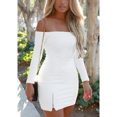 White Off-Shoulder Mini Dress (30 AUD) ❤ liked on Polyvore featuring dresses