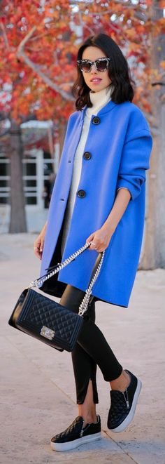 BRILLIANT BLUE - New York Cocoon coat, leather Janice ultra skinny pants in black, slip on sneakers by VivaLuxury