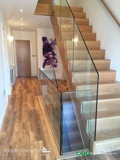 New oak flight with frameless glass balustrade Glass Stair Balustrade, Frameless Glass Balustrade, Balustrades, Staircase Railings, Banisters, Railing Design, Staircase Design, Interior Stairs, Home Interior Design