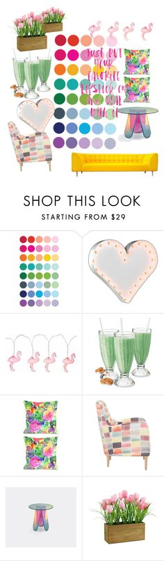 """""""Rainbow home"""" by gema-z ❤ liked on Polyvore featuring interior, interiors, interior design, home, home decor, interior decorating, Vintage Marquee Lights, Lipsy, One Bella Casa and Glas Italia"""