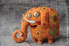 Слоник рыженький - слон,ручная работа,рыжий,Керамика,скульптура,подарок