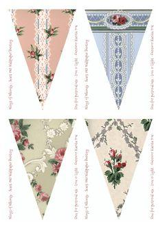 Vintage wallpaper bunting/banner