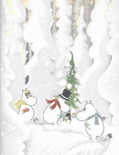 Christmas Tree Wallpaper, Winter Wallpaper, Christmas Background, Moomin Wallpaper, Iphone Wallpaper, Ghibli, Winter Christmas, Christmas Cards, Christmas Decor