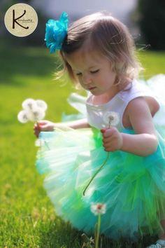"Girls Birthday Tutu - blue green tutu - MERMAID'S SONG - Sewn Tutu and Headband Set - up to 12"" long - sizes newborn to 5T - Photo Prop"