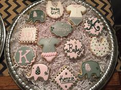 Pink elephant baby shower cookies