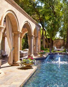 pool house - Luxury Homes Outdoor Drapes, Outdoor Rooms, Outdoor Living, Hacienda Style, Mediterranean Homes, Spanish Style, Pool Houses, House Goals, Pool Designs