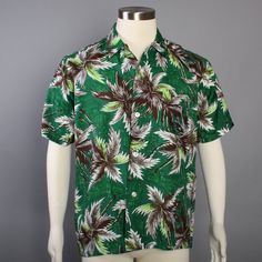 50s Men's Rayon HAWAIIAN SHIRT / 1950s Deadstock Green Palm Tree Print, m