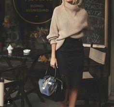 fabulous-fashionn:  Sweater»Skirt»Handbag»