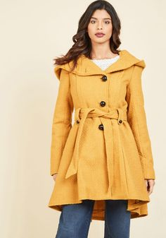 Once Upon a Thyme Coat in Mustard, #ModCloth