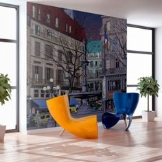 Fototapeta - Dusk over the Parisian square cm Graffiti Paris, Vintage Design, Dusk, Floor Chair, Sun Lounger, Wall Murals, Bean Bag Chair, Vibrant Colors, Shops