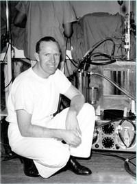 Clinical physiologist Dr. Robert M. Anderson devised a method of producing cardiac arrest during surgery and designed one of the earliest widely-used heart-lung machines. The Melrose-NEP heart-lung machine was first used at Hammersmith Hospital on 17 April 1957 on a 30-year-old woman.