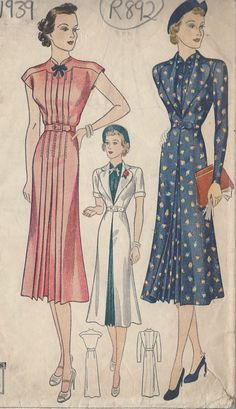 1939 Vintage Sewing Pattern B34 DRESS & REDINGOTE (R892) in Crafts, Sewing, Sewing Patterns | eBay!