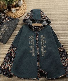 golden thread embroidery gothic vintage print loose hooded jacket women exotic coat