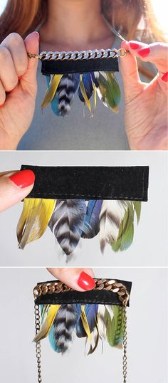 DIY Anthropologie Fanned Feather Necklace | DIY Anthropologie Jewelry Ideas by DIY Ready at  http://diyready.com/diy-decor-anthropologie-hacks/