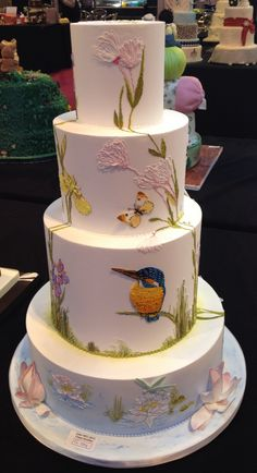 Gorgeous Hand Piped Nature Inspired cake
