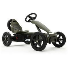 """BERG Jeep Adventure Pedal Go-Kart - Pack a lunch, it's not called the Jeep Adventure for nothing! You're set to ride on an adventure with this mid-sized licensed Jeep, knobby tires, swing axle, adjustable seat, front grille, and your own spare tire - there's no stopping you! Ages: 4 years old up to a """"compact adult."""""""