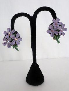 Vintage Flower Bouquet Earrings Lilac by weMixandMatchVintage, $10.00
