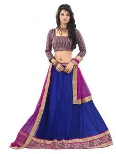Blue Net Lehenga Choli with Embroidery Work