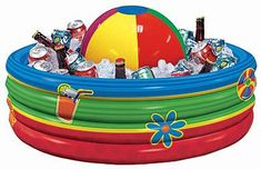 #EbatesTurns16 I'll be hitting up the Dollar Store for a kiddy pool and beach ball to store our drinks in. {via Shindigz Party} Totally cute!