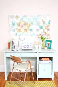pegboard paint! Such a cute craft room decor