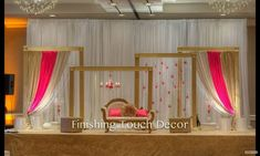 Finishing Touch Decor - Indian Wedding Decorations Source by ychinoy. Indian Wedding Stage, Wedding Stage Design, Indian Weddings, Hindu Weddings, Peach Weddings, Engagement Stage Decoration, Marriage Decoration, Wedding Reception Backdrop, Wedding Mandap