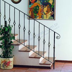 Unique photo - head to our site for many more good tips! Wrought Iron Stair Railing, Staircase Handrail, Stair Railing Design, Metal Stairs, Modern Stairs, Painted Stairs, Railing Ideas, Balustrades, Front Door Design
