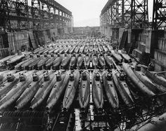 Koryu-class submarines along with at least three other classes at Kure Naval Arsenal Japan 19 October 1945.
