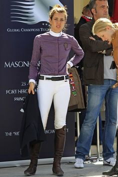 Charlotte Casiraghi participates in the Global Champions Tour horse jumping competition.