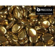 50pcs PIP Beads 7x5mm Pressed Czech Glass Jet Gold Coating