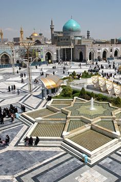 Imam Reza shrine, Mashhad, Iran. It is the largest mosque in the world by dimension and the second largest by capacity. Also contained within the complex are the Goharshad Mosque, a museum, a library, four seminaries, a cemetery, the Razavi University of Islamic Sciences, a dining hall for pilgrims, vast prayer halls, and other buildings