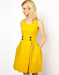 Orla Kiely yellow dress, Sleeveless Sailor Dress with Anchor Buttons Trendy Dresses, Simple Dresses, Cute Dresses, Casual Dresses, Party Dresses, Yellow Dress Casual, Latest Fashion Clothes, Fashion Dresses, Casual Work Attire