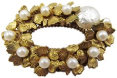 Vintage Miriam Haskell faux pearl brooch. #shopgoodwill #auction