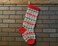 Hand Knit Christmas StockingStriped Fair Isle by CustomBearHugs