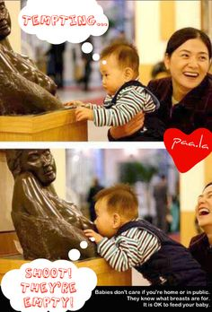 """""""Shoot! They're empty"""" Breastfeeding Poster by Paa.la. Photo of baby nursing on a statue."""