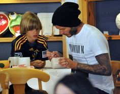 David Beckham and sons at Color Me Mine