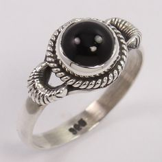 Handmade Art 925 Sterling Silver Nice Ring Size US 7 Natural BLACK ONYX Gemstone #Unbranded