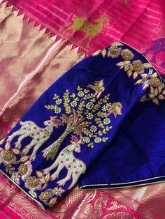 Blouse embroidery designs have various styles and types. To make it easier for you to pick, here are blouse embroidery designs photos you need to check out! Wedding Saree Blouse Designs, Pattu Saree Blouse Designs, Stylish Blouse Design, Fancy Blouse Designs, Blouse Neck Designs, Choli Designs, Sari Design, Sari Blouse, Blue Blouse