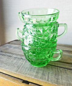 green glass tea cup set - vintage depression glass.