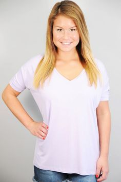 TOPS > Short Sleeve > Lilac Short Sleeve V-Neck Piko Knit Top