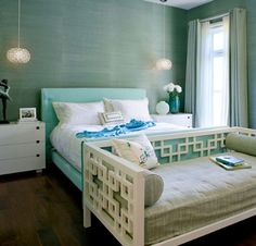 Beautiful Blue Bedrooms from Belle Maison - love the idea of a daybed/couch at the end of a bed